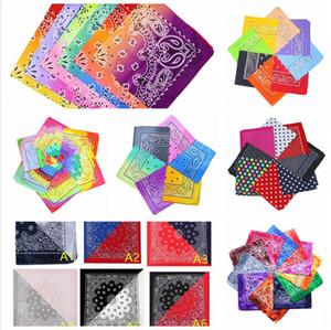 LJJP79-1 favor del tinte del lazo del pañuelo souble cuadrado del color del gradiente de Hip-Hop Pañuelo Impreso colorida bufanda principal partido de la venda de las bufandas de algodón