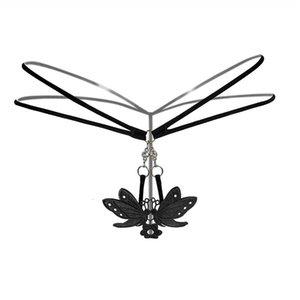 Cintura de metal bajo las bragas del bordado de las mujeres calientes del corchete eróticos Bragas Calzoncillos transparente Tangas G-secuencia atractiva de la ropa interior de la ropa interior