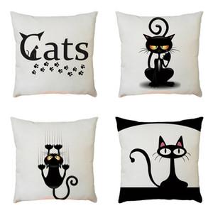Yastık Kılıfı Tong Kartı Güzel Siyah Kitty Yaratıcı Fikir Bardian Yastık Keten Moda Popüler Kapak Iyi Satmak Paragraf 5 2bz p1