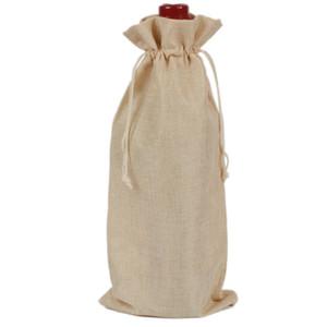 750ml Plain Linen Fabric Wine Bags Drawstring Wine Bottle Cover Bag Protective Pouch 3pcs lot