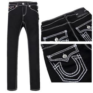 Erkek Düz Jeans Uzun Pantolon Pantolon Erkek Gerçek Kaba Hat Din Kot Elbise Man Casual Kalem Pantolon Mavi Siyah Kot Pantolon
