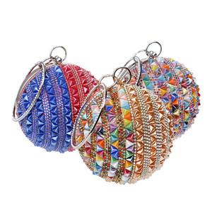 Designer-SEKUSA Céramique perlées femmes Embrayages Diamants Rivet Mode Ronde Lady soirée Sacs en cristal de soirée de mariage Purse nuptiale