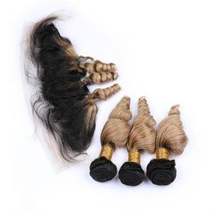 # 1b / 27 Blonde di miele Ombre onda allentata 3bundles indiani umani tesse capelli con frontali chiusura Blonde Ombre tesse Con 13x4 Pizzo frontale