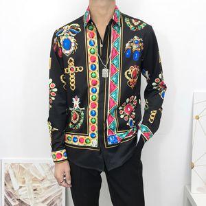 pol Çiçek Baskı Renkleri Lüks Casual Harajuku Gömlek Uzun Kollu Erkek Başkanı Medusa Sh Of 2020 İtalyan klasik tarzda erkek gömlek Medusa Gömlek