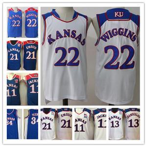 Üniversite Kansas Jayhawks Formalar NCAA Basketbol Paul Pierce 34 Andrew Wiggins 22 Joel Embiid Forması 21 Erkekler Josh Jackson 11 Söğüt Chamberlain