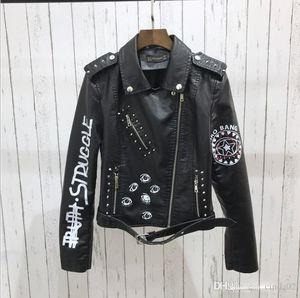 Autumn Spring Graffiti Studs Beading Women PU Leather Jacket Punk Style Motorcyle Tassel Leather Jackets Coats Streetwear