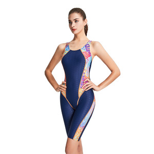 M-3XL Waterproof Quick Dryin One Piece Swimwear Sport Professional to Knee Competition Swimsuit Sexy Racing Suit Women With Pad MX200613