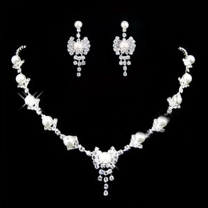 Beauty Silver Bridal Jewelry 2 Pieces Sets Necklace Earrings Bridal Jewelry Bridal Accessories Wedding Jewelry T216079