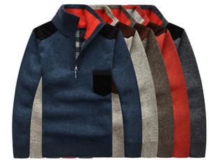 Suéter de cuello alto La mitad de los hombres Zip Fleece Pullover de punto de lana de manga larga ocasional del bolsillo masculino gruesa ropa para el otoño