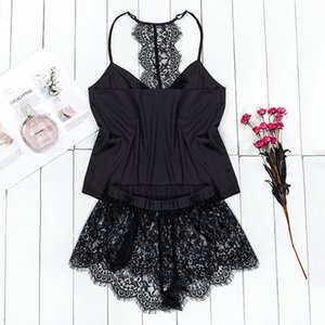 Suphis Black Pajama Set Women Satin Sleepwear Spaghetti Strap Camis Top Floral Lace Shorts Sexy Lingerie Pijama Femme CX200606