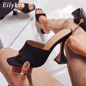 Eilyken 2020 Summer Women Snake grain Gladiator Slippers High Heels Mules Square Toe Sandals Sexy Female Outdoor Party Shoes Y200628