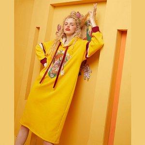 ELFSACK Gelb Patchwork Jesus Drucken Lustige Frauen Hoodies Kleider 2019 Winter-Colorblock Langarm Casual Weibliche Tageskleider