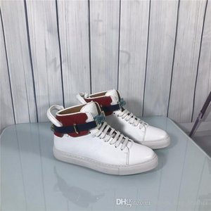 2019 The latest classical mens casual shoes High-top sneakers Fashion designer Genuine Leather white with lock