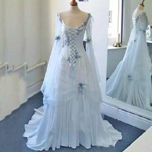 Colorful medievale Paese sposa abito corsetto lunghe maniche a campana epoca celtica abiti da sposa bianchi e blu pallido Appliques abiti di nozze 4