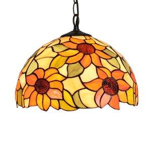 تيفاني قلادة زجاج مصابيح ضوء قلادة لغرفة المعيشة غرفة الطعام ديكور المنزل مصابيح تيفاني اللون البرتقالي الزهور