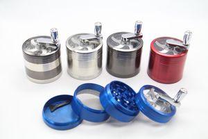 Großhandel 40mm / 50mm / 55mm / 63mm 4layer Metallhandkurbel trockener Tabak herb grinder Metallgriff Mahlwerke für Tabak Kurbel Grinder