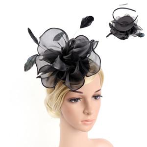 Flor para mujer venda de la pluma de malla grande Fascinator del velo clip del sombrero del partido de coctel de boda Proms Cintas de carreras Plumas
