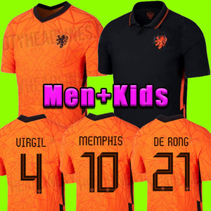 2020 2021 de futebol Holanda jerseys DE JONG Wijnaldum Holanda kits de futebol camisa VIRGIL 20 21 jérsei conjuntos Strootman MEMPHIS Men + crianças
