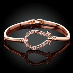 Drop shipping Or Rose / Argent Strass Wrap Manchette Bracelets Horseshoe Bracelet Pour Femmes Marque Designer Bijoux Valentine Cadeau