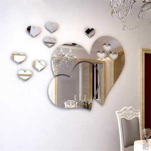 1set Hot Sale New High Quality Removed Multicolor Room Wall Mentical Mirror Love DIY 3D Decor Hearts Art Sticker Decal R6q0
