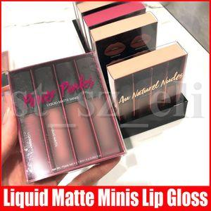 4pcs / set Lippen Make-up Set Flüssiges Lippenstift Kit Leistung Pinks Blushed / AW Natured Nudes Mini Flüssiges Matte Lippenstift Lipgloss3 Styles