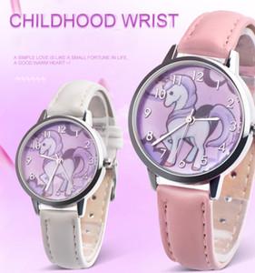 Новая мода Единорог смотреть дети смотреть коробка Радуга дети девушки Кожаный ремешок аналоговый сплав кварцевые часы
