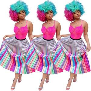 Milan de mujer faldas largas plisado vestido de vacaciones de playa a rayas elástica Mid-Calf Straight Contrast Color impresión de moda de verano ropa 437