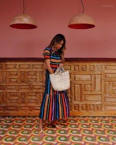 Elbise Gökkuşağı Çizgili Elbiseler Mürettebat Yaka Kısa Kollu Moda Giyim Gündelik Giyim Kadın Yaz Bohem yazdır