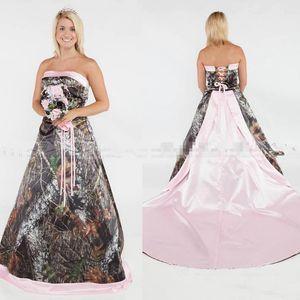 Dress Pink Party Dresses Glamorous Camo Una linea da sposa in raso senza spalline Abiti da sposa Lace Up formale