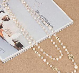Atacado de luxo cristal esmalte trevo de quatro folhas pingente jóias longo Pearl Sweater Cadeia Colares Mulheres Vestido Costume Acessórios