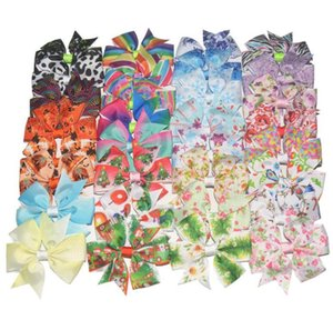Christmas and Halloween headgear Lilly Printed Grosgrain Ribbon Bows Clips Girl 'S Hair Boutique Headware Kids Hair Accessories H145