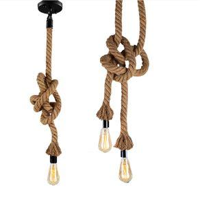 Vintage Twine Rope Lamp E27 Loft Lighting Clothing Store Restaurant lamparas de techo colgante moderna Hanging Industrial decor