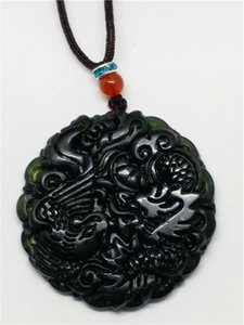 Pietra preziosa cinese naturale verde Jadeite Jade Dragon Pendant Necklace Gemstone regalo all'ingrosso
