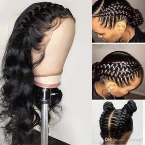 Pré plumé de dentelle perruque de cheveux humains avec bébé cheveux décolorés Nœuds de dentelle perruques pour les femmes noires de vague de corps de Remy de Brésilien Cheveux