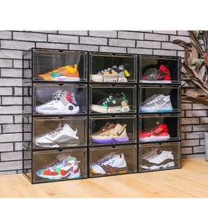 Transparente Shoe Box Side Open Storage Dustproof exposição da sapata do armário magnéticos Shoes otário Porta Basquetebol Caixa Virar Anti-Oxidação finishin