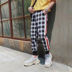 Escocesa del enrejado Joggers Hombres pantalón para hombre del chándal pantalones de la vendimia de Hip-hop de la tela escocesa de la raya de Calle Pantalones deportivos
