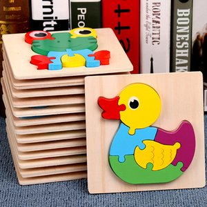 Toy for 2 3 years old kids baby boys girls 3D Puzzles wood animals learing toys 15pcs animals puzzle
