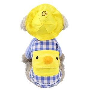 Nuevos ropa para perros calientes mascotas pequeñas de color amarillo pato de dibujos animados patrón de jardín de niños ropa de cachorros mochila chaleco se pueden usar todas las estaciones
