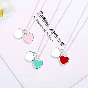 1pcs Drop Shipping 925 silver plated Heart-shaped Pendant Necklace Beautiful jewelry Women Female Birthday Chirstmas Gift 45CM