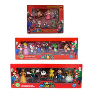 6шт / Set 3-7cm Super Mario Bros ПВХ фигурку игрушки Куклы Марио Луиджи Йоши Гриб Donkey Kong в подарочной коробке Прекрасный подарок малышей