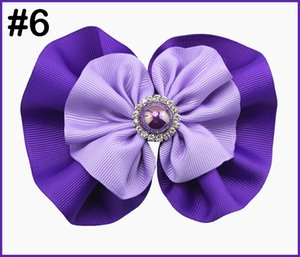 free shipping 24pcs 5-5.5'' round rhinestone hair bows girl baby hair bows fashion girl accessories big pearl