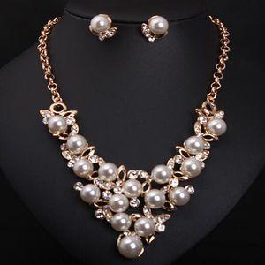 Moda completa de cristal simulado jóia da pérola Sets Gold Silver Plated Choker colares brincos para mulheres casamento N267