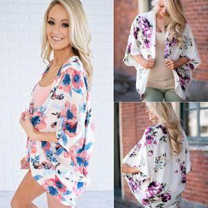 Le donne floreali Beach Vintage Scialle Cardigan Boho floreale in chiffon allentato magliette casual mezze maniche camicetta