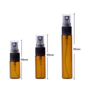 3 ml 5 ml 10 ml mini botellas de vidrio ámbar Perfume Spray viaje recargable vacío botellas de cosméticos Agua atomizador LX1760