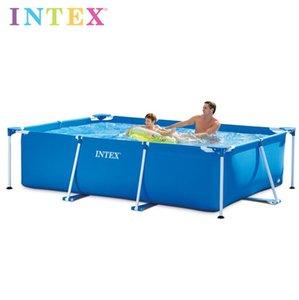 INTEX rectangulaire 450 * 220 * 84cm surdimensionné Épaississement Support Grande famille Piscine pour enfants Grande piscine ronde cadre métallique Piscine
