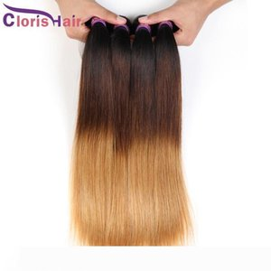 Blonde Ombre Malaysian Virgin Hair Straight Bundles Three Tone 1b 4 27 Ombre Extensions Cheap Dark Roots Blonde Straight Human Hair Weaves