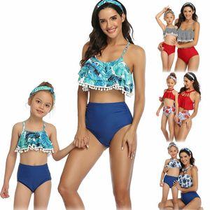 Matching família Mulher Kids Meninas Swimsuit Mãe Filha Bikini Swimwear praia Mãe e filha Tassel Imprimir Verão 2020