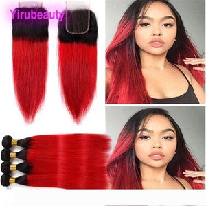 Indian Virgin Hair Extensions 3 Bundles With 4X4 Lace Closure Middle Three Free Part 1B Red Straight Two Tones Color 1B Red 12-26inch