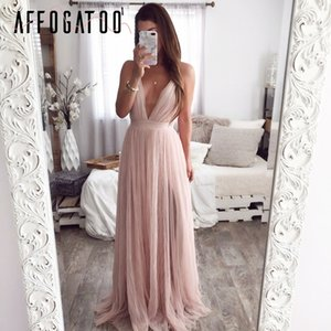 Affogatoo Sexy Deep scollo a V senza schienale Abito estivo rosa Elegante abito da sera da sera in pizzo Abito lungo da festa Vestito da donna 2019 Y19073001