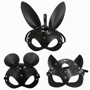 Fetish Head Mask BDSM Bondage Restraints Faux Leather Rabbit Cat Ear Bunny Mask Roleplay Sex Toy For Men Women Cosplay Games T200519